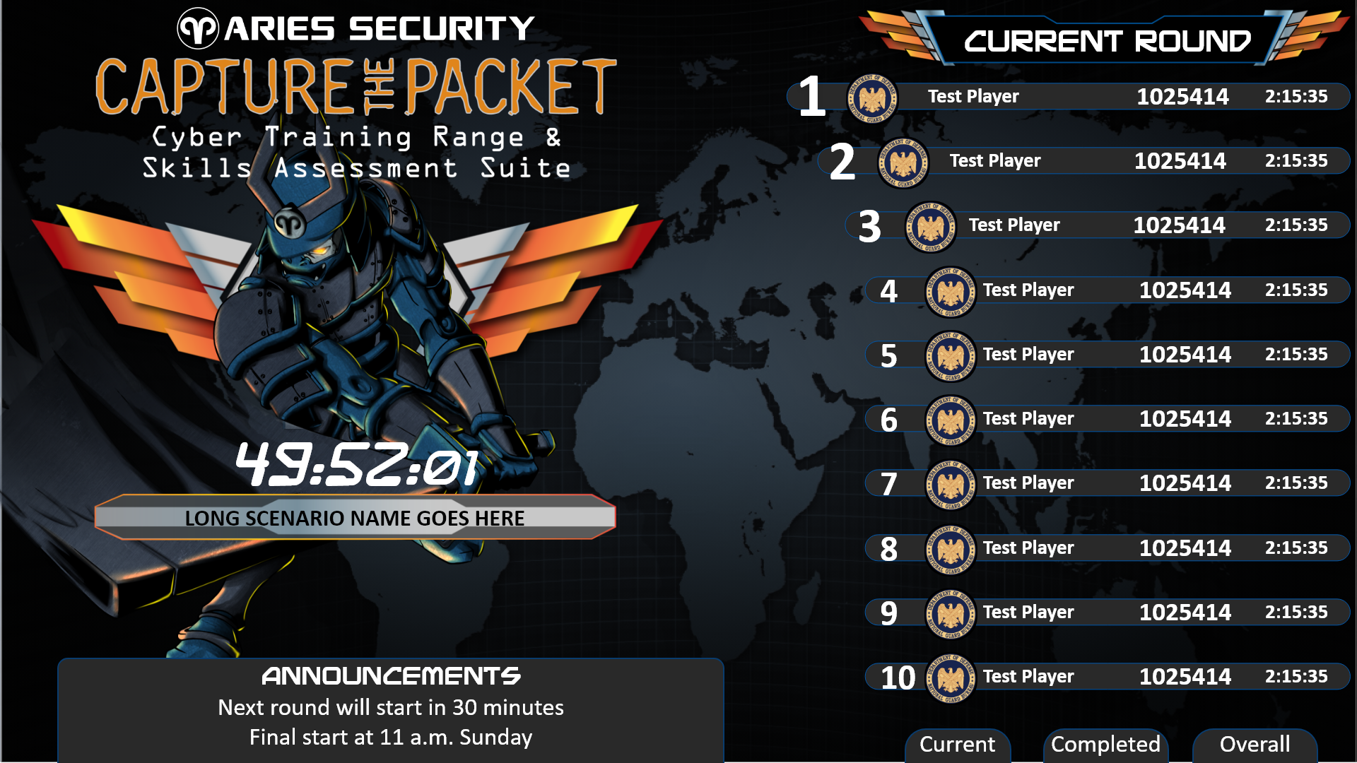Example leaderboard from Capture The Packet