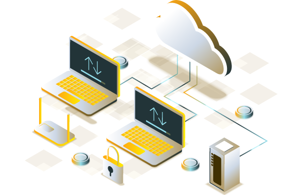 Graphic showing computers connecting to a network and the cloud
