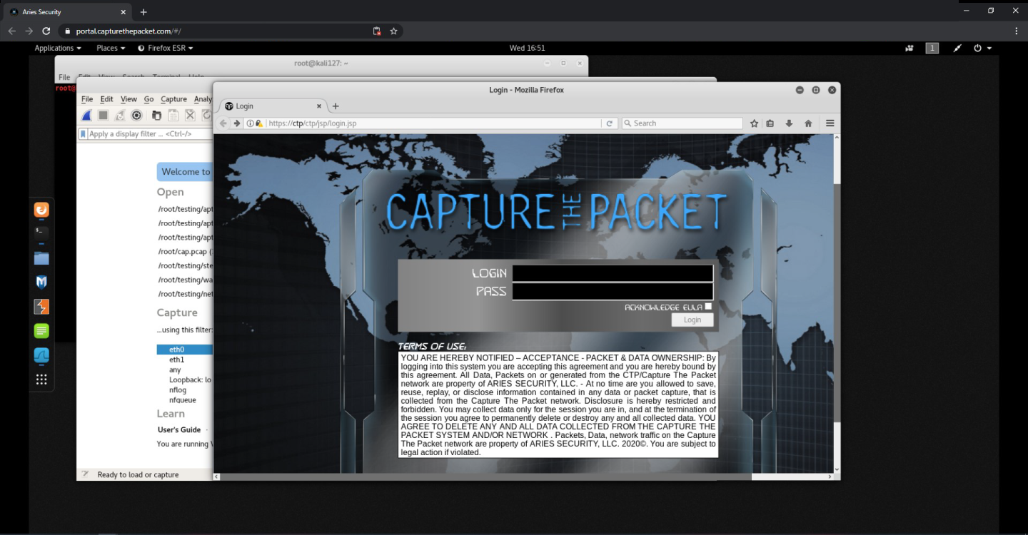 Sample login screen from Capture The Packet.