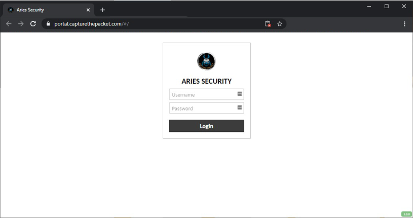 Sample login screen from the Capture The Packet remote portal.