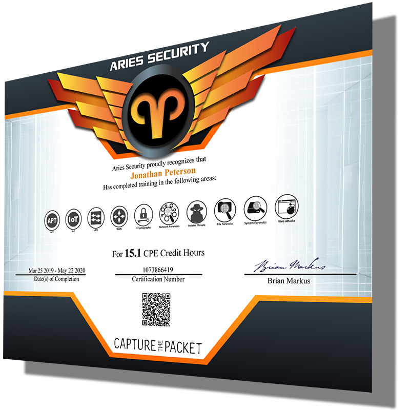 Sample CPE certificate from Capture The Packet.